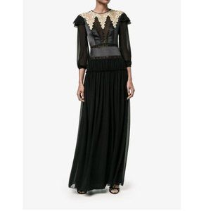 ALBERTA FERRETTI Black Silk Gold Embroidery Dress